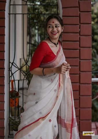 Handwoven pure linen jamdani saree with polka buti…