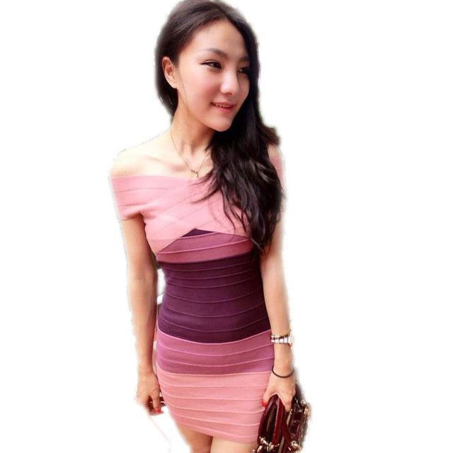 Sexy Club Dress New Women Summer Style Off Shoulder Bodycon Bandage Dress Celebrity Knitted Striped Party Dresses vestidos