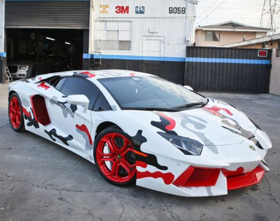 "Chris Brown – Lamborghini Aventador with ""Fighter Jet"" Camo Custom Paint Job"