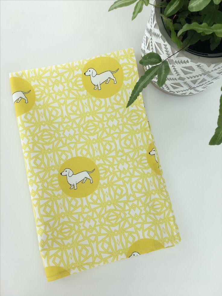 Dachshund tea towel in lemon by lazytails.com