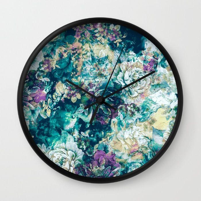 Frozen Flowers Wall #Clock #floral #frozen #homedecor #art