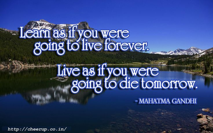 """Live as if you were to die tomorrow. Learn as if you were to live forever."" ― Mahatma Gandhi"