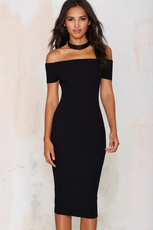 Tori Ribbed Off-the-Shoulder Dress - Dresses