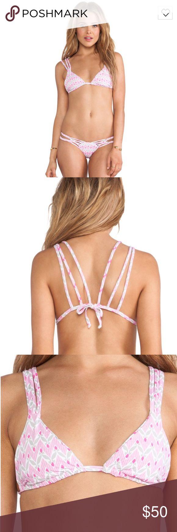 Frankie's bikini pink chevron bikini top Only worn once, cute bikini top. Lots of straps that make a cute back tie. Frankie's bikini brand :) Runs small!!! Frankie's Bikinis Swim Bikinis