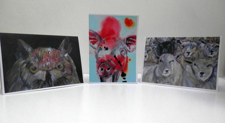 Animal blank greeting cards, owl card, sheep card, pig card, set of 3 blank animal cards by CarolineSkinnerArt on Etsy