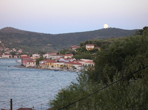 Full moon in Ithaca, Greece