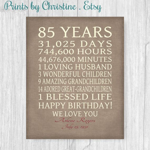 85th birthday - or any year - Celebrate your loved ones birthday with this special gift, using your words. Shown here with days and hours, children, grandchildren but you may use your own lines as long as they fit similar to the example. This is perfect for any year birthday and will be cherished for a lifetime! Shown with a burlap look background (not real burlap).   I NEED when ordering, in Notes Box at checkout:  1. Your Background Color Choice if different than shown (faux brown burplap)…