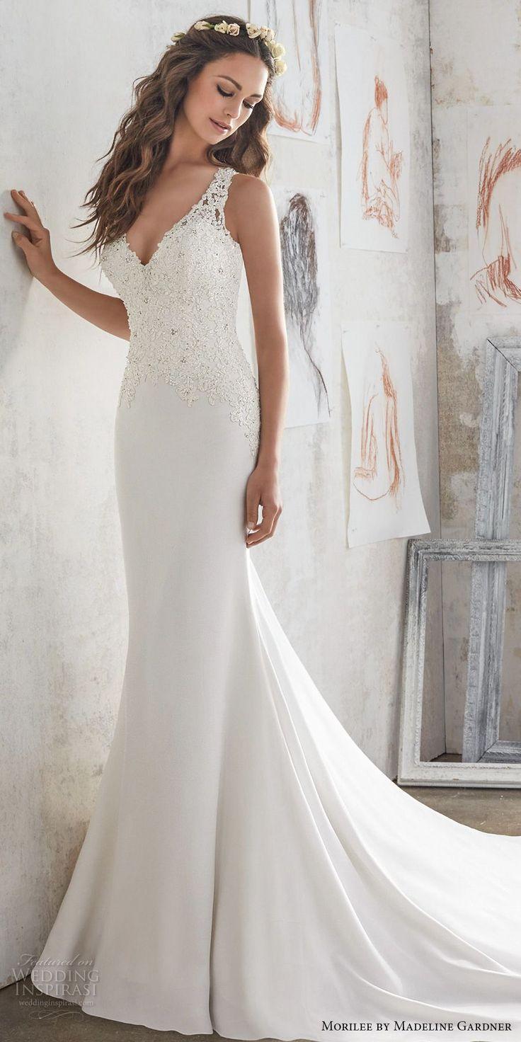 morilee spring 2017 bridal sleeveless embroidered thick strap v neck heavily embellished bodice sheath wedding dress keyhole back chapel train (5508) mv