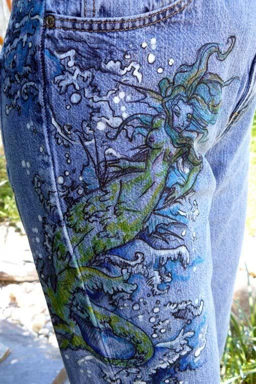 Mermaid Jeans Sharpies And Bleach Pens Ahoy Refashion