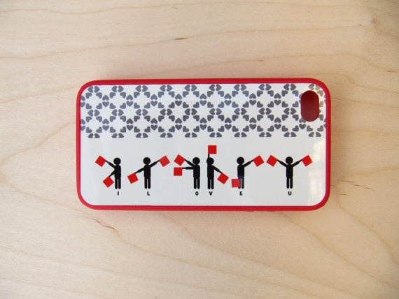 Case for iPhone 4 / iPhone 4S Semaphore signs I by TamTamPatterns,