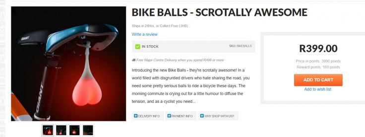 Yeah I know it's insane isn't it? A pair of glowing balls to bounce around under your bicycle seat, but hey apparently they are all the rage!!