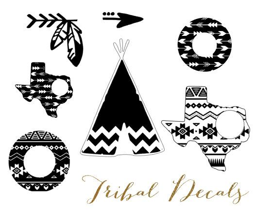 Aztec Monogram Decal Tribal Personalized Decal Tribal