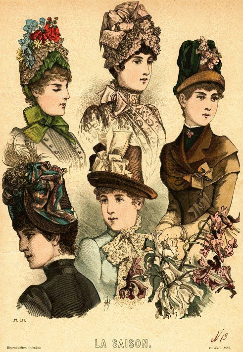 1885 La Saison fashion plate for French hats. The postman style in center & upper right.