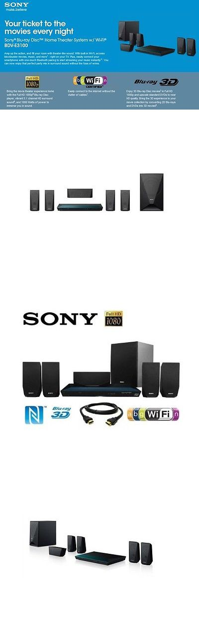 Home Theater Systems: Sony 5.1 Channel Home Theater System Surround Sound Speaker Dvd Bluray Bluetooth BUY IT NOW ONLY: $433.15