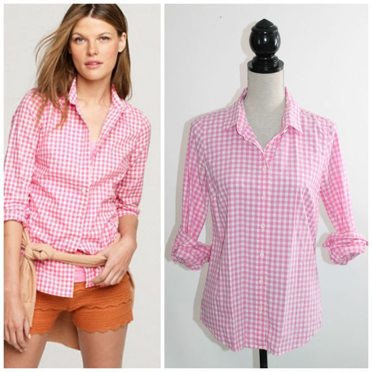 J.Crew Perfect Shirt Pink Gingham Check Plaid Fitted Button Down Shirt 6 #JCrew #ButtonDownShirt #Career