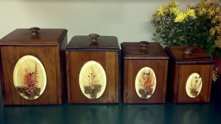Vintage Dovetail Wooden Canister Set - Four Piece Kitchen