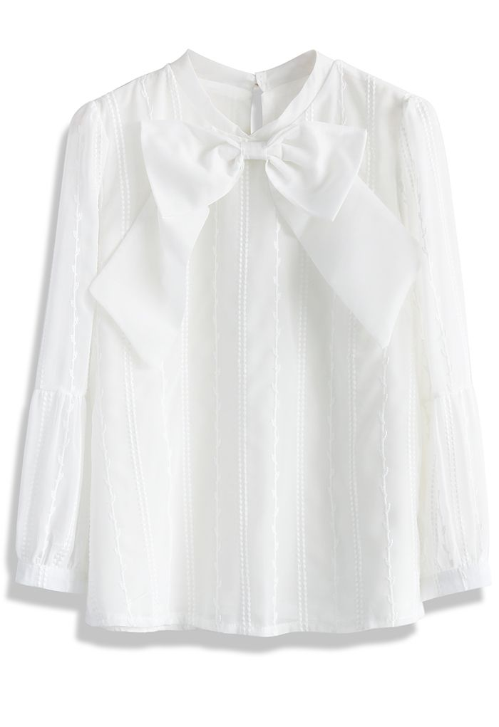 Festive Bowknot Chiffon White Top - New Arrivals - Retro, Indie and Unique Fashion