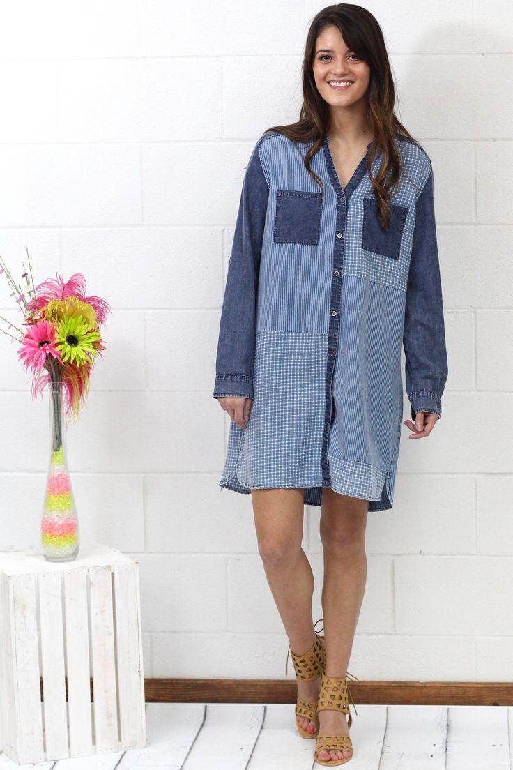 Mixed Up Chambray Shirt Dress {Denim}