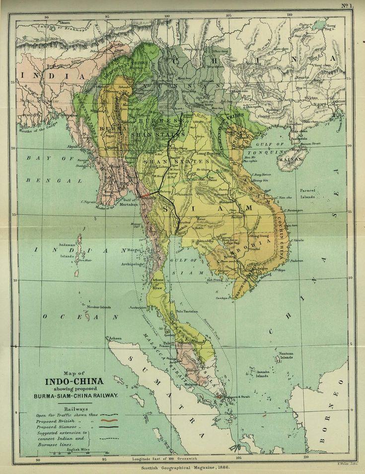 Map of Indo-China, showing proposed Burma-Siam-China railway. Scottish Geographical Magazine, 1886.