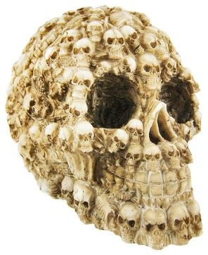 Ossuary Style Human Skull Statue Figure Skeleton traditional-decorative-objects-and-figurines
