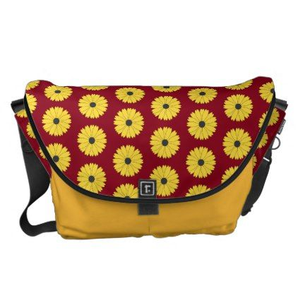Berry Red Daisy Pattern Messenger Bag - accessories accessory gift idea stylish unique custom