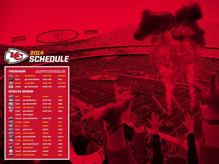 2014-15 KC Chiefs Schedule Destine for a championship.... soon!
