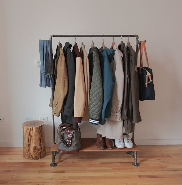Build your own sturdy, heavy-duty, industrial strength clothing rack! I can imagine using this to store my paper patterns and works in progress in my sewing room