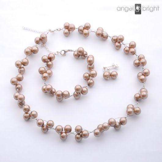 komplet pereł szklanych - Srebro Kolekcja ślubna - Biżuteria ślubna, wieczorowa