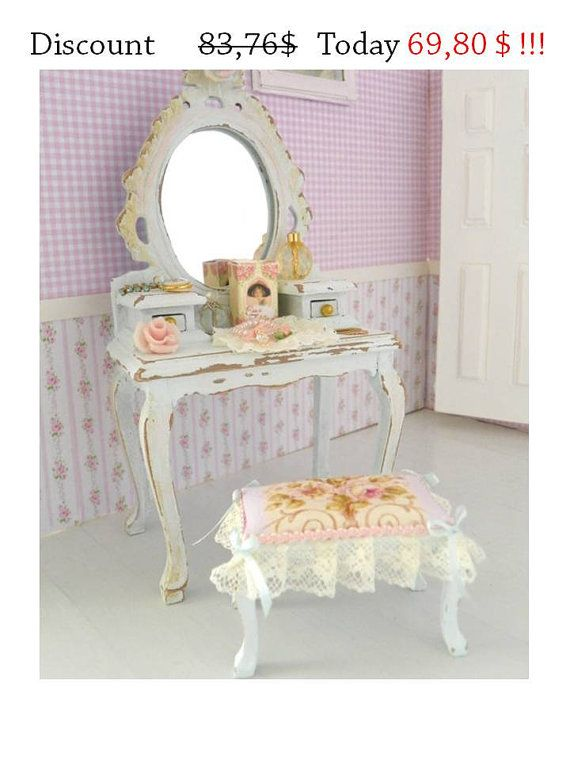 sconto!!! specchiera con sgabello,mobile da toeletta  in miniatura per casa di bambole in stile shabby chic vittoriano, scala1/12