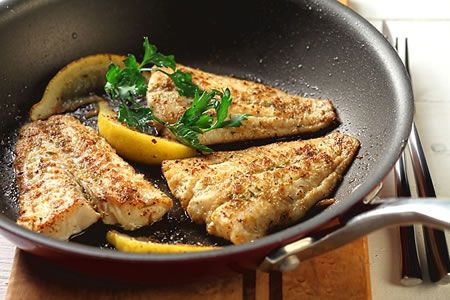 Cumin-Crusted Fish Fillets recipe. Can be made with walleye, halibut, cod or other white fish. DiabeticGourmet.com