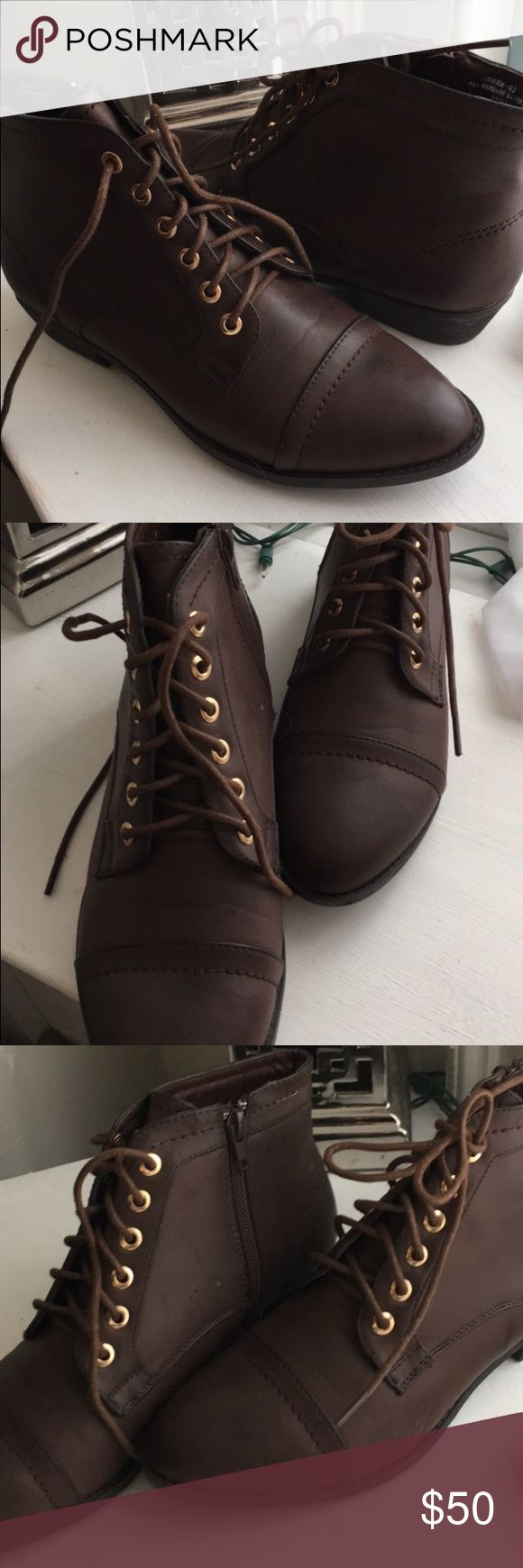 New Chocolate Brown ankle combat boots So cute for spring, only tried on, perfect ankle combat Bamboo Shoes Lace Up Boots