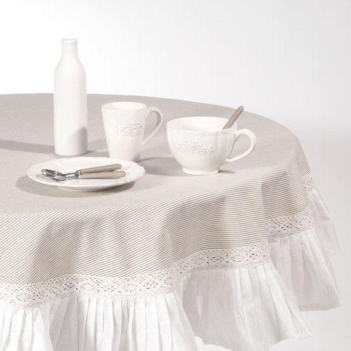 nappe ronde volants en coton beige d 180 cm sorgues id es pour la maison pinterest. Black Bedroom Furniture Sets. Home Design Ideas