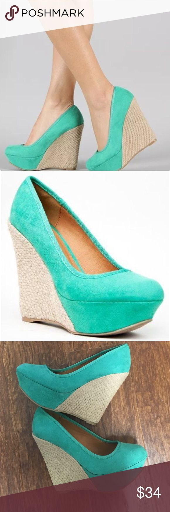 "Qupid mint green espadrilles Keep it casual in these sweet wedges. Features smooth faux suede upper, round toe front, stitching accents, braided espadrille platform and wedge heel. Slide style and finished with padded insole. ~Material: Faux Suede (man-made) ~Sole: Synthetic  heel height: 5"" w/ 1.5"" platform (approx) fitting tips: foot model is a true size 6, foot measures 8.9"" from heel to toe, width measures 2.5"". model's review: true to size. Original box may not be included. Qupid Shoes…"