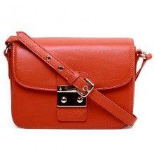 Knockoff Designer Fashion Miu Miu Genuine Calfskin Leather Flap Shoulder Bag - Orange