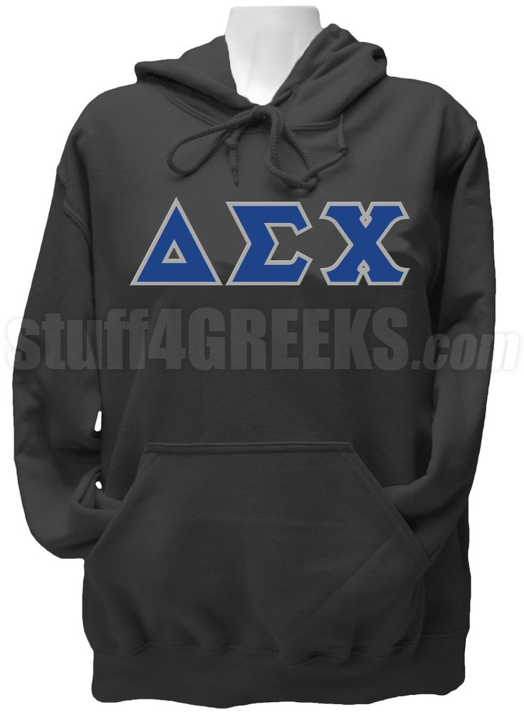 Black Delta Sigma Chi pullover hoodie sweatshirt with the Greek letters across the chest.