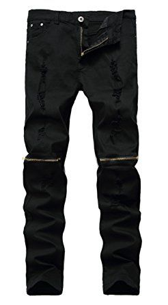 Qazel Vorrlon Men s Ripped Skinny Distressed Destroyed Straight Fit Zipper  Jeans With Holes Review 3c7884bf9bf1