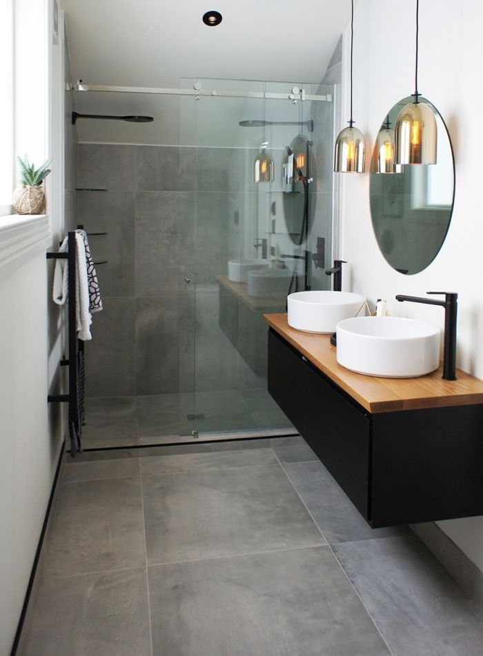 modèle de petite salle de bain avec cabine de douche au carrelage - pose carrelage mural salle de bain