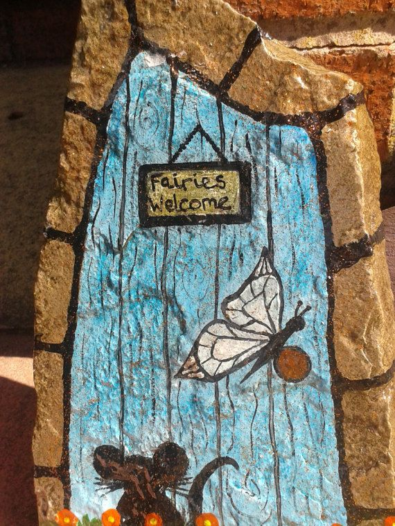 202 best images about pebbles and stones doors on for Painted fairy doors