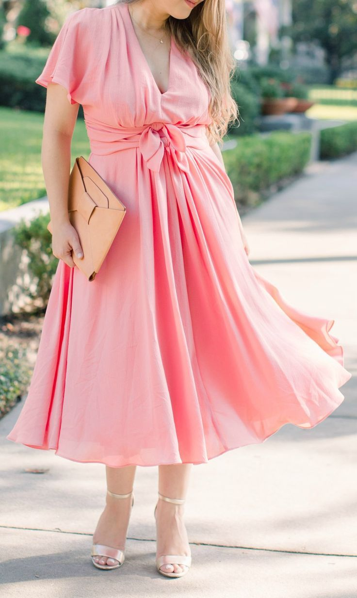 Not Sure What To Wear To A Wedding This Pink Midi Dress With Bow Tie Waist Summer Dress Outfits Wedding Guest Outfit Summer Dress Wedding Guest Outfit Summer [ 1233 x 736 Pixel ]