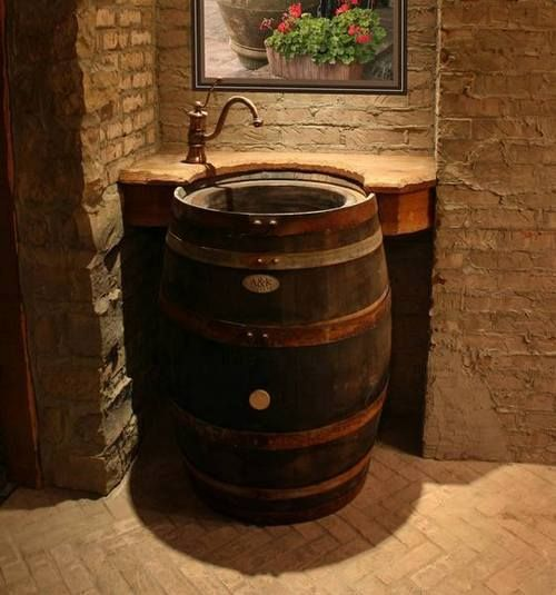 Upcycled Wine Barrel Sink- off kitchen bathroom or man cave bathroom idea