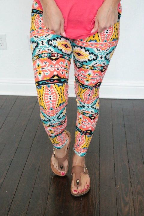 For The First Time Aztec Print Leggings In Coral - Sizes 4-12