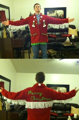 The ultimate ugly christmas sweater. Lets just say the fringe took me a couple hours to make.