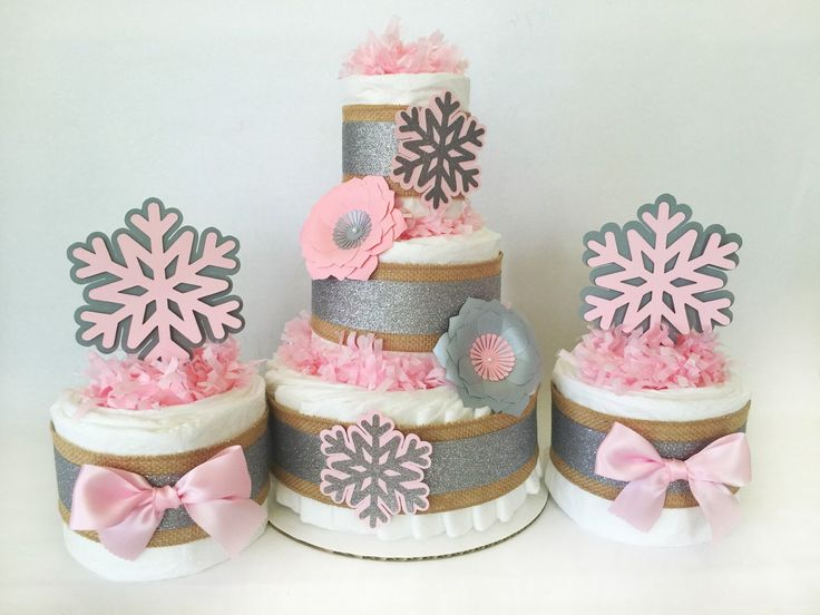 Winter Wonderland Diaper Cake Set In Pink And Silver, Baby Itu0027s Cold  Outside Baby Shower