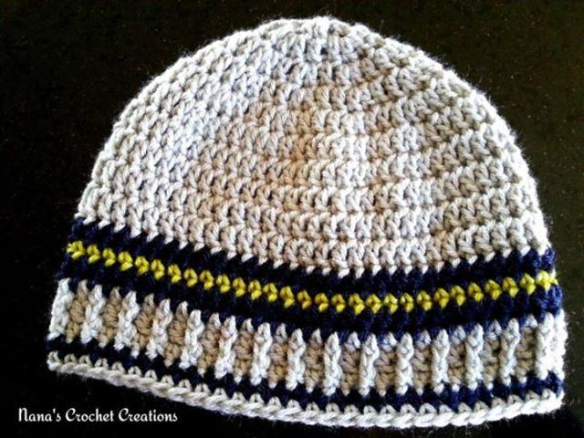 Crochet Men's Hat Free Patterns: Nana's Papa Beanie Free Crochet Hat Pattern
