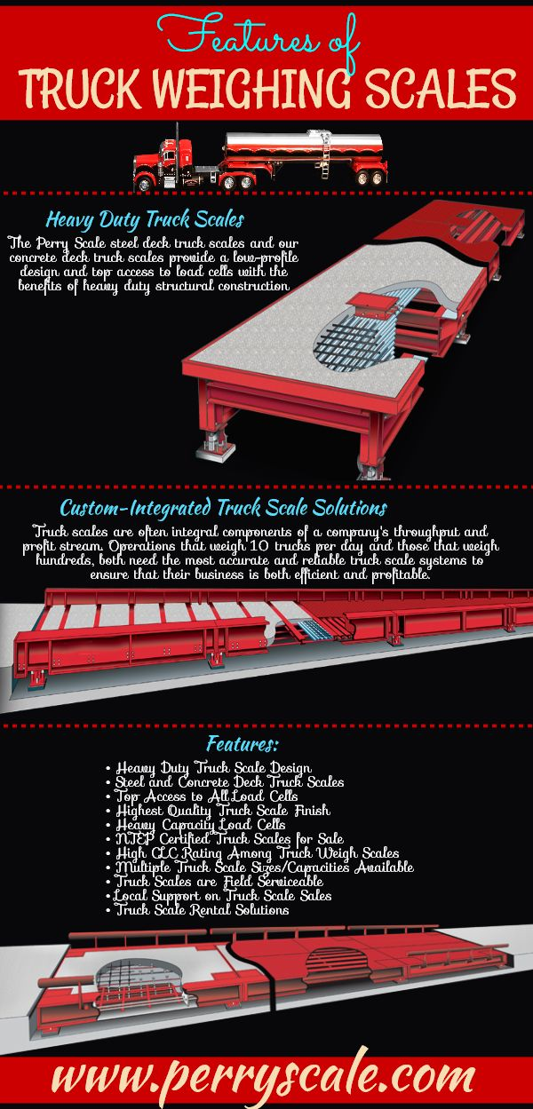 The Perry Scale steel deck truck scales and our concrete deck truck scales provide a low-profile design and top access to load cells with the benefits of heavy duty structural construction.
