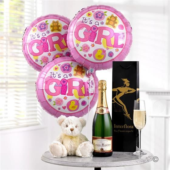 Celebratory Champagne, Baby Girl Balloons and Teddy Gift Set. Help to celebrate their wonderful new arrival with some fine champagne for Mum and Dad, a beautiful teddy bear for her, and some big, helium-filled balloons for everyone to enjoy. After all, this is a very special occasion and deserves a very special gift