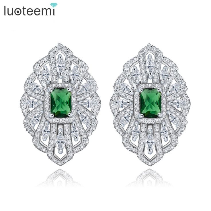 LUOTEEMI Rhodium Plated Brinco Bijoux Silver Color Green Glass Zircon Geometric French Clip Stud Earrings For Women Accessories     Tag a friend who would love this!     FREE Shipping Worldwide     Buy one here---> http://jewelry-steals.com/products/luoteemi-rhodium-plated-brinco-bijoux-silver-color-green-glass-zircon-geometric-french-clip-stud-earrings-for-women-accessories-2/    #new_earrings