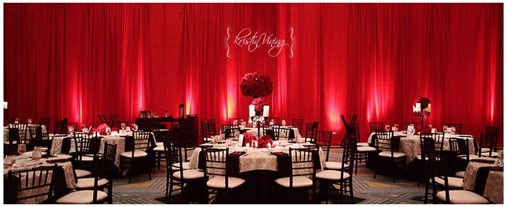 Red Black And White Wedding Reception Black Chiavari Chairs Red Roses Red Pipe And Drape