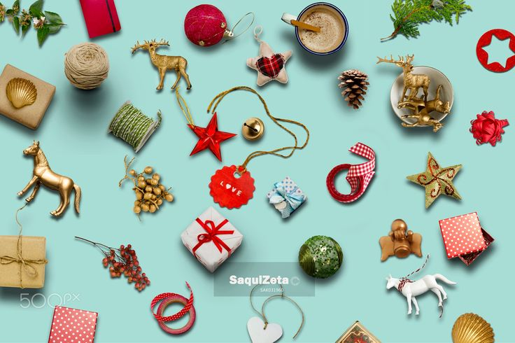 Christmas collection, gifts and decorative ornaments ... photogr - Christmas collection, gifts and decorative ornaments, on blue background. photographic montage. Available 6000x4000px