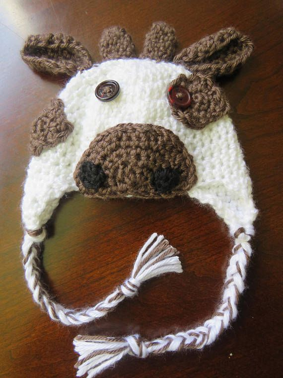 Newborn cow hat diaper cover and bootie set/photo prop